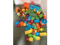 Large quantity of toot toot vtech driver toys and track and toot toot ride on