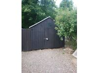 LARGE highly durable Garden hut/garage/workshop, 16.3ft x 10.5ft x 10ft superior quality.