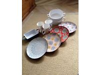Beautiful patterned, colourful plates, Brissi soup bowls and ceramic mugs