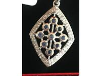 Diamond gold and blue stone necklace boxed for present
