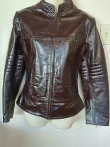 bed2876b8a99 Ladies RETRO MOTORCYCLE JACKET Great Leather M 8-10 Sexy Burgundy Biker Coat  Deadstock New