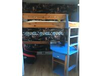 Kids single bed and pine stompa high bed with desk and drawers
