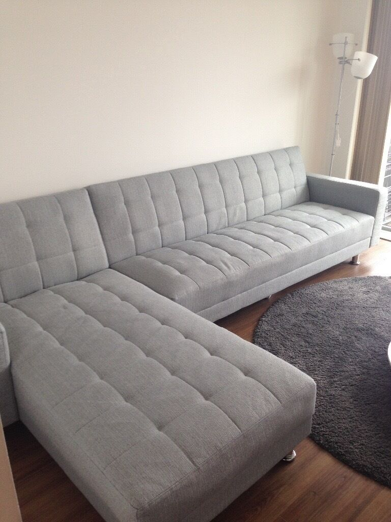 Modern Light Grey Corner Sofa Bed