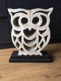 Large Shabby Chic Owl Statue