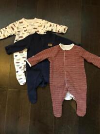 Mamas and papas baby sleep suits x 3 newborn size