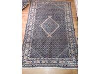 Vintage Iranian (Bidjar?) rug carpet 3m x 2m tightly woven, mainly mid blue