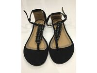 Women's black flat sandals Primark