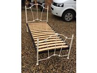 Girls white metal frame single bed. Perfect condition.