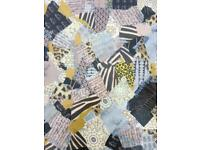 Coffee table, grey black gold yellow, collage