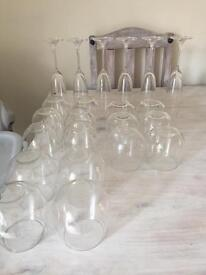 Champagne flutes and wine glasses