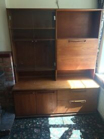 1970's drink cabinet/sideboard/wall unit with drawers. Retro.