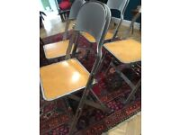 Four Folding Vintage Chairs - Industrial Style