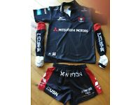 Gloucester Rugby Kit, Adult Medium size Shirt & Shorts plus socks