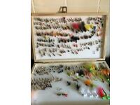 Fly fishing flies in big double box well over 200