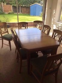 3 Piece Solid Oak 8 Seater Dining Set, Extendable Table, Side Board & Mirror