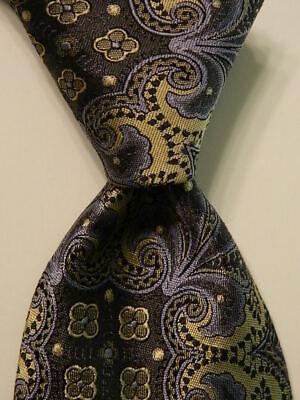 IKE BEHAR Men's 100% Silk Necktie USA Designer Geometric Gray/Blue/Champagne EUC