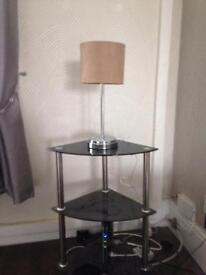 Black gloss table and lamp