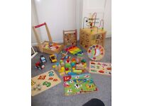 LARGE WOODEN TOY BUNDLE ACTIVITY CUBE PUZZLES TROLLEY ABACUS & MORE