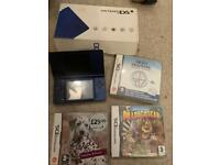 Boxed metallic blue dsi with games