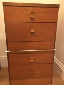 Pair of stag bedside table / drawers.
