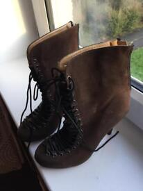 Brown Ankle Boots Size 3 Brand New