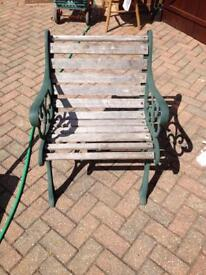 Hardwood wrought iron chair x2