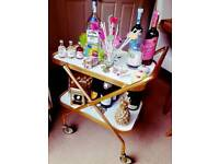 Vintage fold away 2 tier bar cart floral hostess trolley