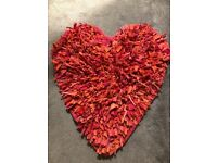 Girls red heart shaped rug