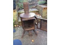 artistic looking large wood burning stove