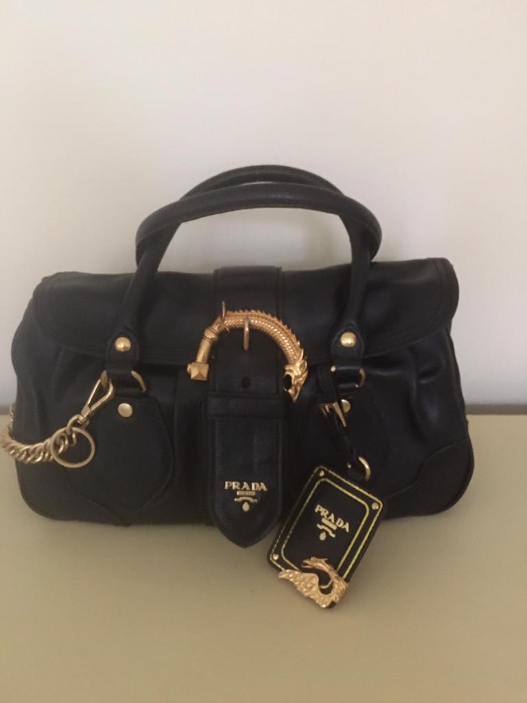 Genuine Prada Black Cervo Leather Dragon Bag