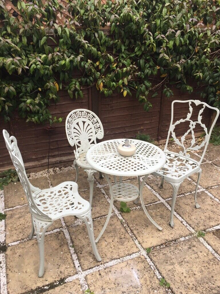 Cast Iron Garden Furniture - Table and 2 Chairs   in ...
