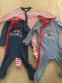 Boys 3-6 months mothercare sleepsuits