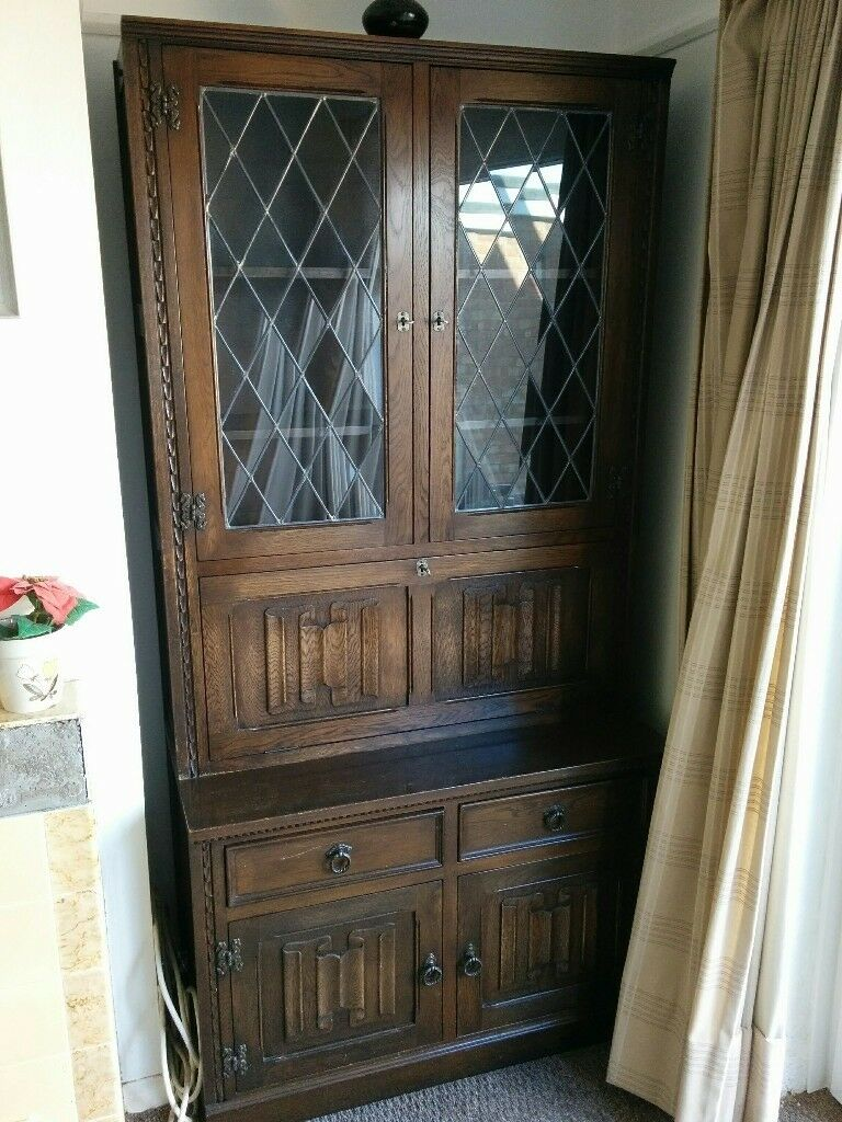 Vintage Cupboard With Stylish Liquor Cabinet Original Glass Doors