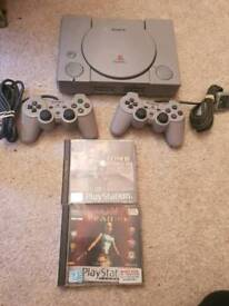 Sony ps1 console with tomb raider