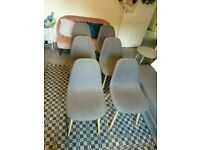 6 Grey Wooden Leg Fabric Dining Chairs good conditon nad very solid