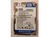 """WESTERN DIGITAL WD800BEVT 80GB 2.5"""" SATA HARD DRIVE"""