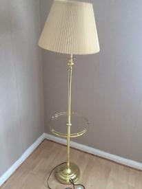 Standing lamp with glass shelf