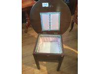 Side Table/ Sewing box feel free to view size diameter 20 in H 18 in