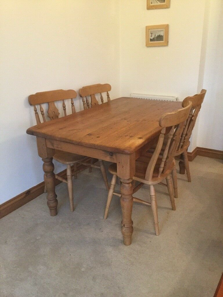 Antique pine dining room table and 4 matching chairs