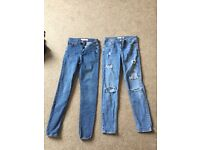 Topshop jeans, 2 pairs, size 6, waist 25inch