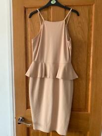 Nude peplum bodycon dress AX Paris size 12