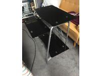 Aliuminium abd black glass study computer desk