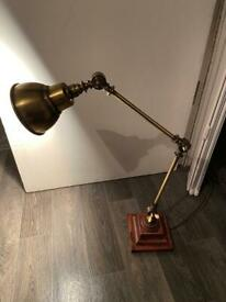 Vintage style lamp antique gold on wooden base