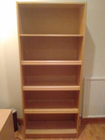 Large Beech Bookcase, Home Office Study, Tall Wide Solid, Deep Bookshelves.