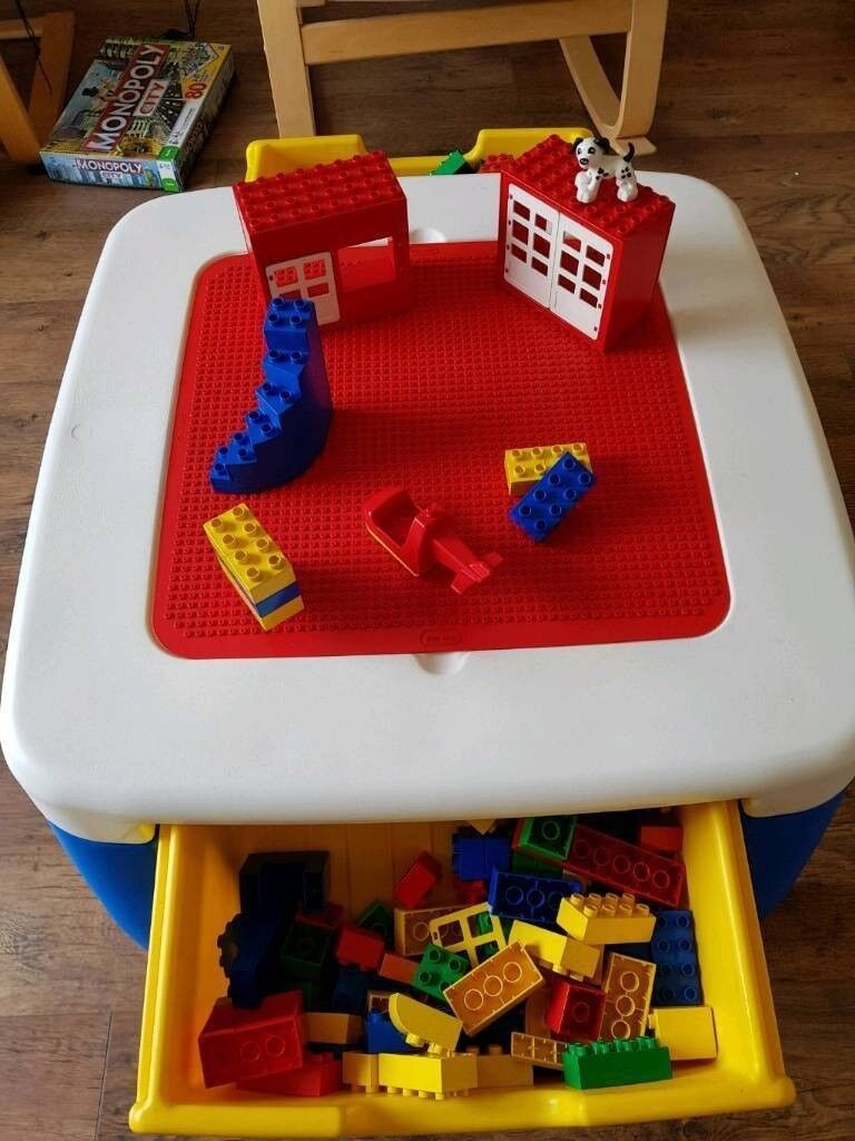 Lego Duplo Job Lot (Bricks, Helicopter, Cars, Dogs, Windows) + Table ...