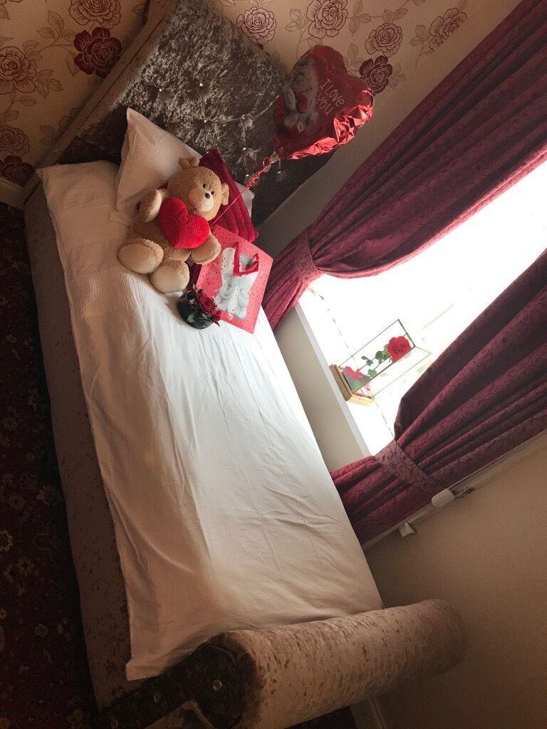 LUXURY SOFT CRUSH VELVET Fabric SINGLE BED FRAME