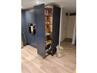 Howdens full height pull out larder, navy blue kitchen cabinet 400mm width