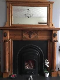 Antique pine Fire Place Surround with Horse Shoe inset Stove and Matching Mantel Mirror
