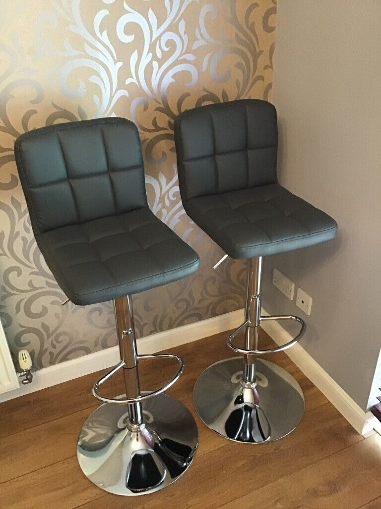 Sensational Grey Leather Gas Lift Bar Stools Brand New Never Used In Dunfermline Fife Gumtree Machost Co Dining Chair Design Ideas Machostcouk