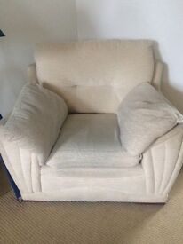 3 seater sofa and armchair (cream)